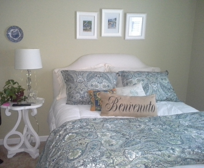 The padded headboard is from Ballard and VERY inexpensive